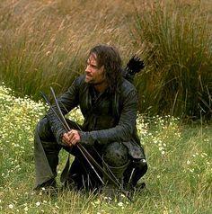 Viggo Mortenson as Aragorn (Candid shot while filming. Love it)