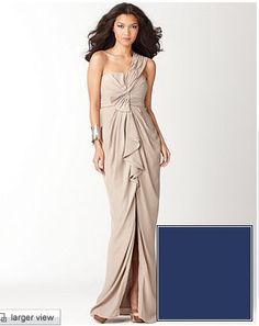BCBG Max Azria one shoulder draped evening gown