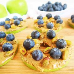 These blueberry pistachio apple sandwiches with almond butter are naturally low in carbs and have just four natural ingredients.