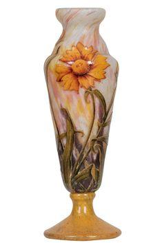 Fine Daum Nancy Acid Etched, Cameo and Enamel Glass Vase France, circa 1910 vintage home decorative vase.