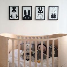 Leander crib, MiniWilla prints, Lucky Boy Sunday soft dolls and house pillow