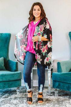 Long Sleeve Kimono, Kimono Shirt, Short Kimono, Floral Kimono Outfit, Kimono Fashion, Kimono Style, Boutique Tops, Boutique Clothing, Fashion Boutique