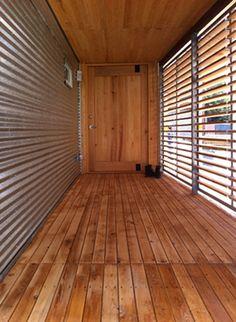 More corrugated metal and wood. I like having the corrugated metal horizontal to increase the size of the space. Mini Loft, Corrugated Tin, Tin Walls, Metal Siding, Steel House, Metal Homes, California Homes, My Dream Home, Tiny House