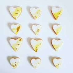 Sugar Cookies: Heart shaped, hand painted with gold leaf. Cookie Monster, Sugar Cookies, Heart Shapes, Frost, Cupcakes, Hand Painted, Treats, In This Moment, Chocolate