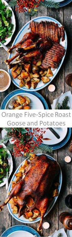 Orange Five-Spiced Roast Goose and Potatoes recipe by the Woks of Life Goose Recipes, Duck Recipes, Wild Game Recipes, Potato Recipes, Asian Recipes, Easy Recipes, Healthy Recipes, Woks, Roasted Vegetables