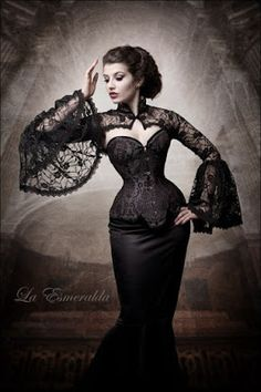 From the Steampunk Fashion Guide's Guide to Corsets - Longline corsets: Steampunk Woman in Black Longline Corset