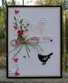 Check out the Wacky Watercooler Blog Hop at MyTanglewoodCottage.net. You will find free instructions for this card that uses Jar of Love, Beautiful You, Timeless Textures. The fabulous heart is cut using a die from Sunshine Wishes Thinlits and the adorable bird is cut from a die from Birds & Blooms Thinlits.