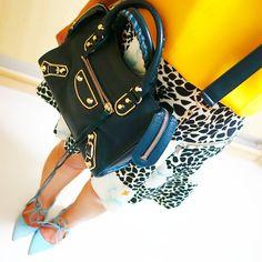 BALENCIAGA Classic Mini City Metallic Edge bag | ZARA top, skirt, heels | instagram: @quennandher | https://instagram.com/quennandher