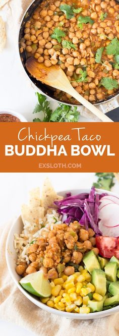 This vegan, gluten-free chickpea taco buddha bowl is subtly spiced, packed with flavour and unbelievably satisfying via @GiselleR | Healthy Living Blogger | ExSloth.com