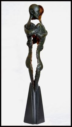 Lost wax bronze #sculpture by #sculptor Steve finney titled: 'Sanctuary abstract (Lover`s Embrace Protection sculpture)'. #Stevefinney