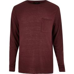 River Island Dark red long sleeve t-shirt ($22) ❤ liked on Polyvore featuring men's fashion, men's clothing, men's shirts, men's t-shirts and red
