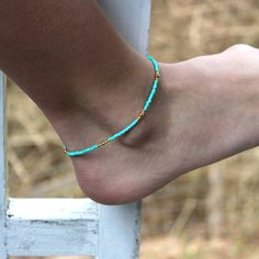 Beaded Anklet/Turquoise Beaded Anklet/Beaded Turquoise/Ankle