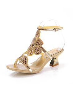 Chunky Low Heel Sandals Diamond Studded Slingback Gold, Gold, G·Sharrow | VIPme