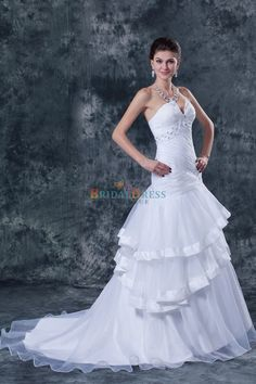 Beaded Fashionable A-line V-neck Layers White Organza Wedding Dress