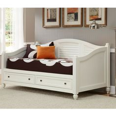 This stylish white storage bed is a dream for the comfort-seeking organizer in all of us. Two large multi-use drawers maximize the space taken up by this comfortable daybed. Antique brushed nickel hardware accent the sharp white finish.