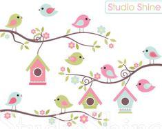 Aves lindo gráfico digital el mejor nido Clip arte por StudioShine