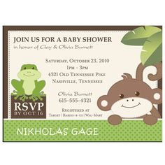 Froggy frog fill in baby shower invitations set of 8 invitations monkey and frog baby shower printable pdf only filmwisefo