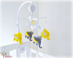 Elephant baby mobile crib mobile yellow by LullabyMobiles