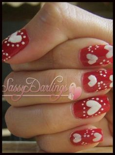 Valentines Day heart nails.