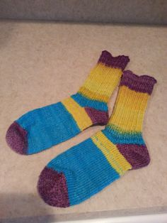 Brooke's socks hand knit with my hand dyed, hand spun yarn