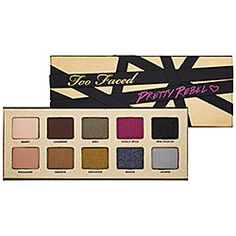 Too Faced - Pretty Rebel Eyeshadow Palette $46 (Too Faced Pretty Rebel Collection 2013) Contains: - 10 x 0.05 oz eye shadow in Dainty, Charming, Girly, Totally Fetch, Miss Sparkles, Ringleader, Gangsta, Instigator,  Badass, Jailbird