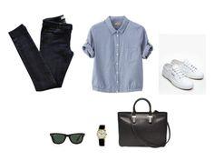 Vanessa Bruno jeans, plain linen blouse, Superga sneakers, Ray-Ban sunglasses, Rolex watch and The Row handbag.