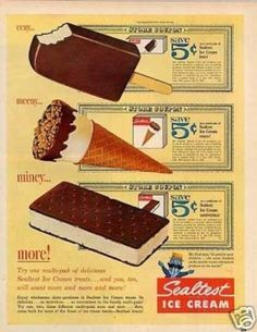 1965- Remember when ice cream sandwiches had an inch of ice cream between those chocolate layers. Remember when the drumstick had lots of chocolate and nuts on top? Those were the days!!