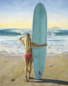 """""""The Hobie."""" Surfer girl checking the surf in California. Painting by @Colleen Gnos"""