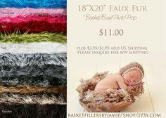 Extra Long Faux Fur Newborn Photography por basketfillersbyjamie