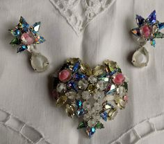 Vintage Christian Dior Bijoux Heart Shaped Brooch & Drop Earrings Boxed & Signed
