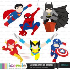 This digital clipart set including 6 Superheroes in action. Each clipart saved separately as a high resolution PNG file with a transparent