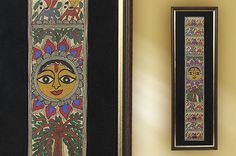 Surya, the sun god radiates the energy of life in a madhubani painting. Surya symbolises power and hope and the artists surround the benevolent deity with all kinds of life forms, including humans, elephants and birds.