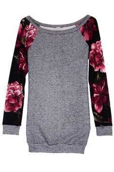 Heather Gray Floral Sleeve Raglan Tunic