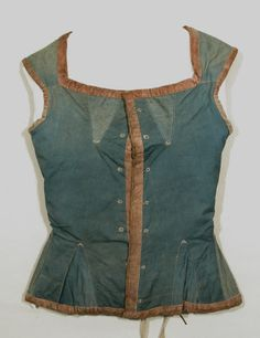 Corset bodice 1800-25. Made from faded blue jean with peach velvet trimming and fastening with 7 pairs of eyelet holes. It is corset bodice - Made ...