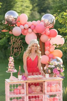 Rose Bar and Balloon Garland from One Stylish Party Rose All Day Dinner Party | Black Twine