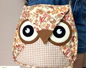 Borwnie: Flip Bag, Owl Bag, flower, messenger bag, tote, animal, women, kid bag, children bag, fabric bag, girl bag, boy bag, flowery, cream
