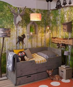 so many thing to love in this picture-- the mural, the birdhouse light fixture, owls everywhere