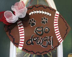 Hand Painted Football Team Door Hanger Sign by EllieBelliesSigns, $35.00