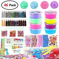 DIY Slime Kit Supplies - Fluffy Slime and Clear Crystal Slime, Include Foam Balls, Fishbowl Beads, Glitter Jars, Fruit Flower Candy Slices for Kids and Adults Slime Making Slime Kit) Slime Kit, Diy Slime, Putty Toy, Diy Fluffy Slime, Baby Doll Nursery, Glitter Jars, Candy Flowers, Do It Yourself Kit, Princess Toys