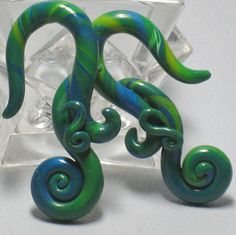 Gauged Earrings   Little Mermaid  Aqua  Polymer Clay by ClayGauged, $28.00