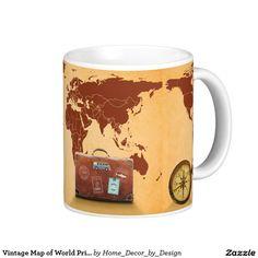 Vintage Map of World Print Coffee Mug