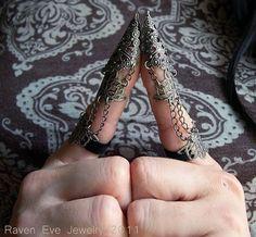 Dagon Full Finger Armor  Ring Gothic Flourish by ravenevejewelry, $55.00