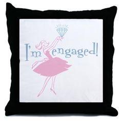 Retro Engaged Throw Pillow - Engagement Gift Ideas (CafePress.com)
