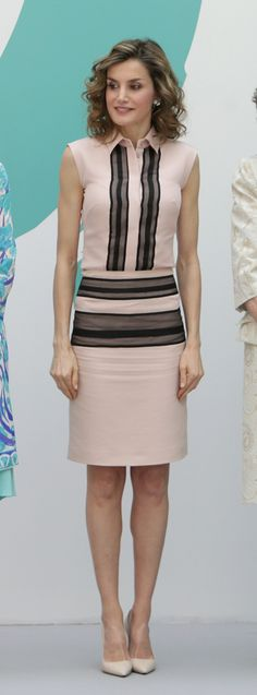 Queen Letizia. Pale pink and black stripes. Prada heels