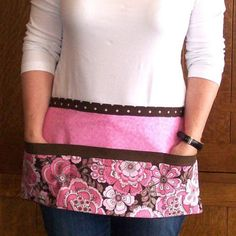 Pink floral tool belt style apron