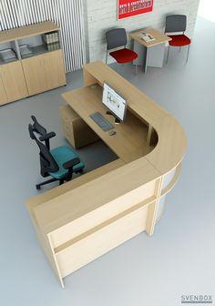 Lada recepcyjne Sven lada-svenbox Modern Office Design, Office Furniture Design, Home Office Decor, Small Reception Desk, Reception Desk Design, Reception Counter, Shop Interiors, Office Interiors, Hospital Reception