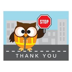 School Crossing Guard Cute Owl Thank You Postcard