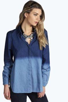 Gracie Dip Dye Denim Shirt at boohoo.com