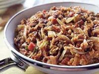 Unstuffed Ground Beef, Onion, Tomato, Cabbage and Rice Skillet