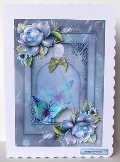 Vintage Jar And Bleu Roses on Craftsuprint designed by Marijke Kok - made by Margaret McCartney - I printed the design onto good quality photographic paper and cut it out. I scored and folded a C5 scalloped edged card. I attached the design to the card using double sided tape. I assembled the decoupage using thin foam tape. I added the greeting using thin foam tape. I added the wings of the butterfly using silicone glue. I added some coloured gems to the centre of the small flowers to ...